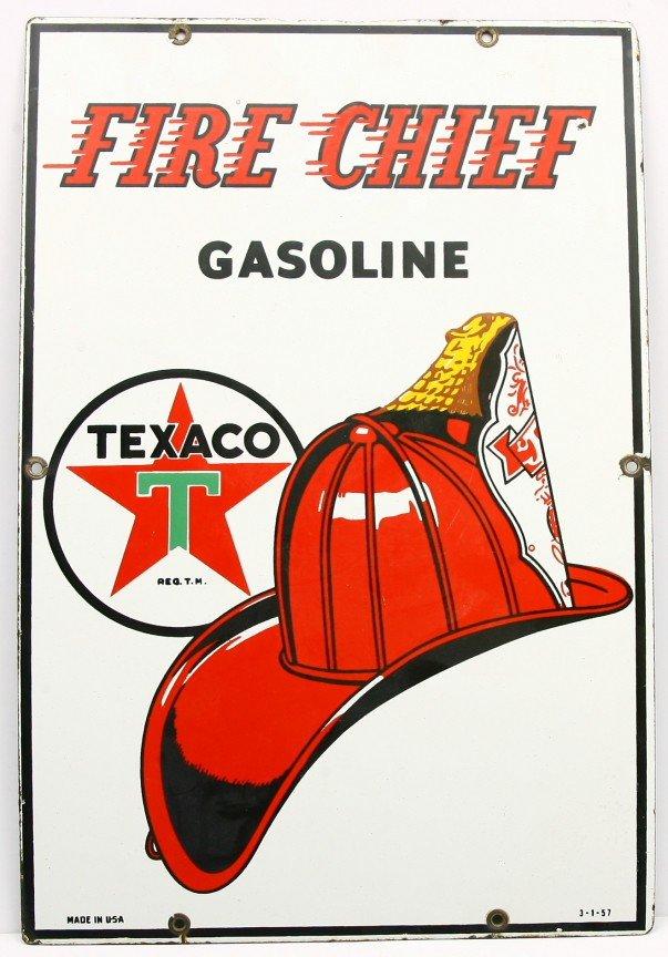 "470: TEXACO FIRE CHIEF GASOLINE 12"" x 18"" raised  porce"