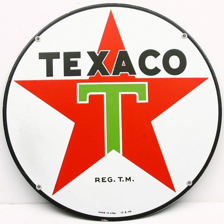 "471: Vintage raised porcelain 15"" round TEXACO sign dat"