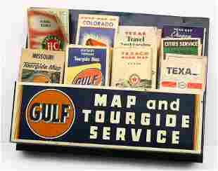 "Vintage tin 2 tier map holder 14"" x 18"" original p"