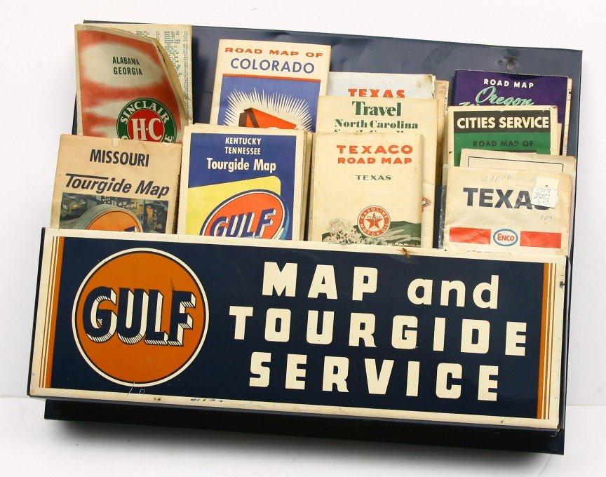 "472: Vintage tin 2 tier map holder 14"" x 18"" original p"