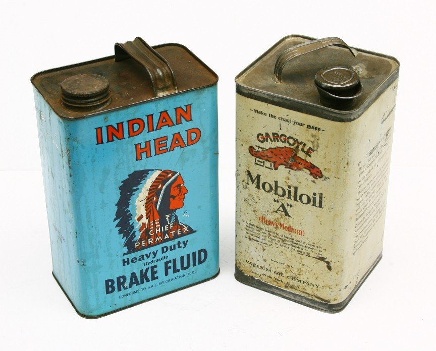 475: Pair of Vintage tin 1 gallon advertising cans for