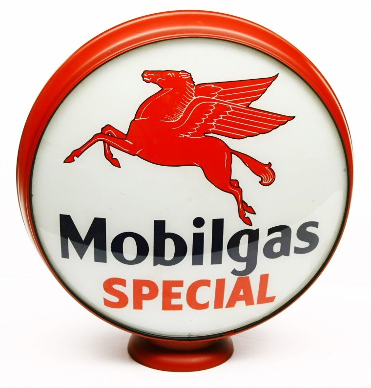 477: Flying Horse Mobilgas Special gasoline globe, red