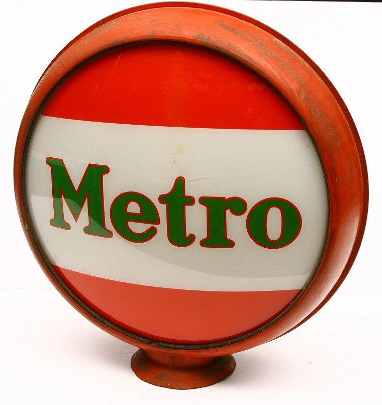 486: Vintage METRO gasoline globe has metal body w/ 16