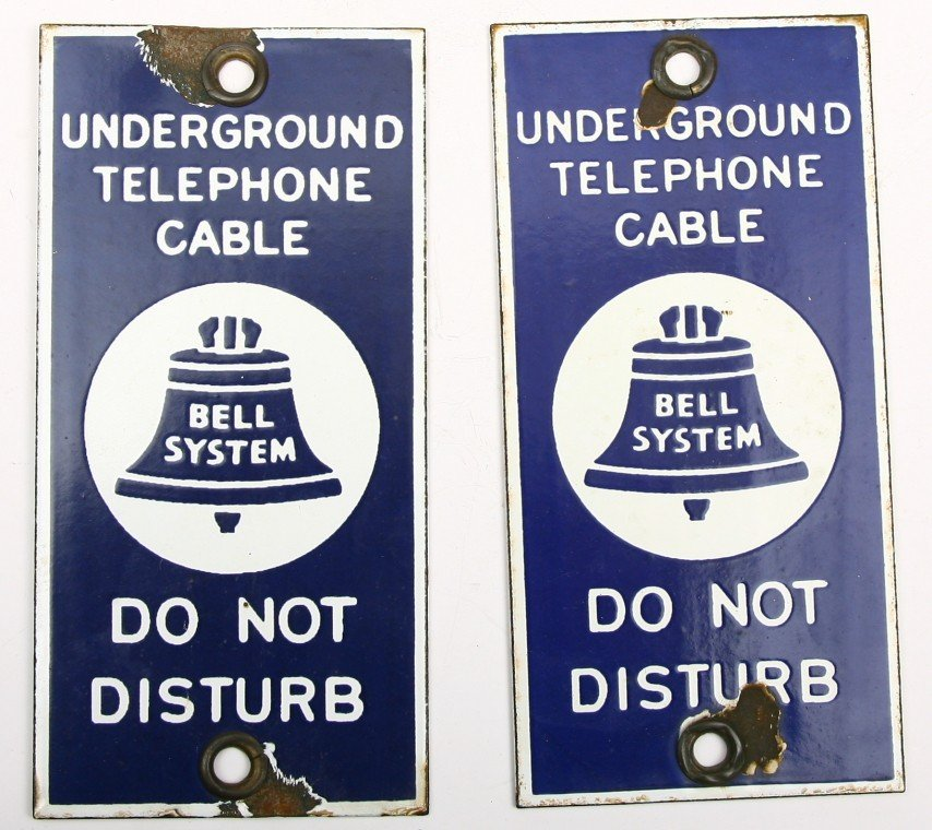"""493: 2 Porcelain telephone cable signs, 3 1/2"""" x 7"""", bo"""