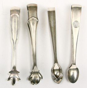 Collection Of 4 R.R. Marked Sugar Tongs For ROCK I
