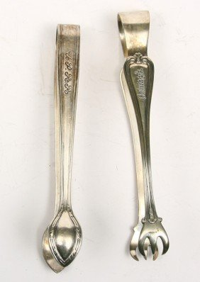 Collection Of 2 R.R. Marked Sugar Tongs For  SANTA