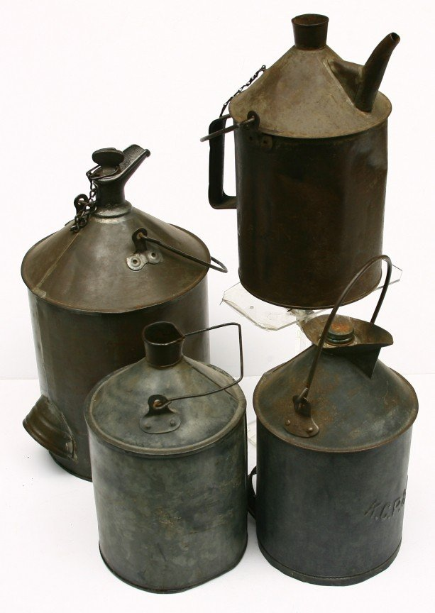 623: 4 Early tin R.R. marked fuel containers include: K