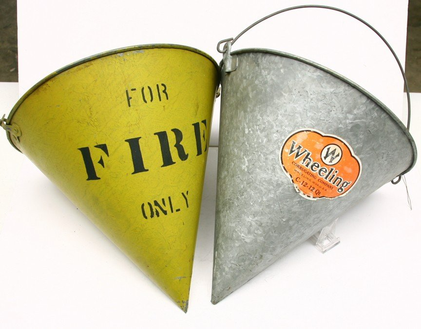 624: 2 Tin fire pails, one marked MP LINES and one mark