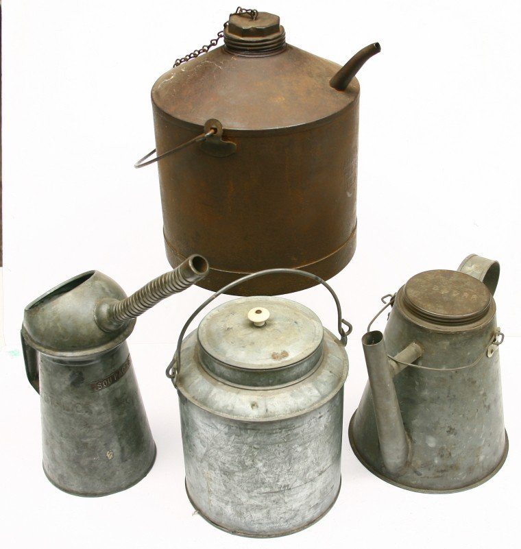 629: Group of 4 R.R. tin containers 3 w/ spouts for CMS