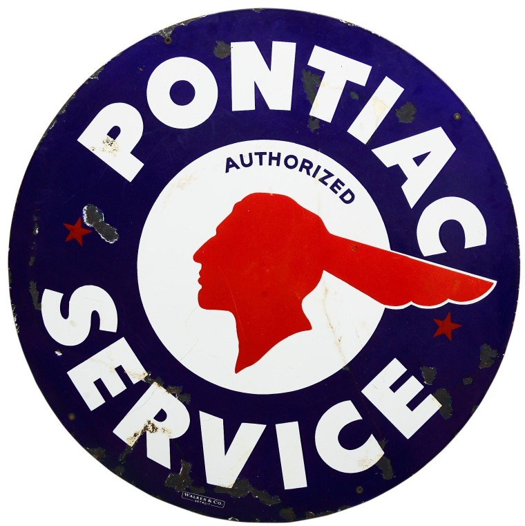 "641: Early porcelain double sided ""PONTIAC AUTHORIZED S"