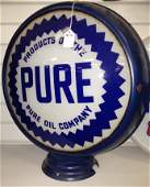 812: Gas globe double sided PURE OIL COMPANY, metal bod