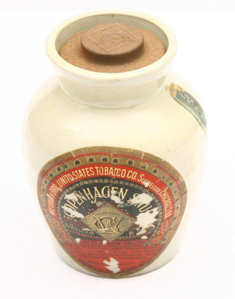 """848: Vintage  COPENHAGEN SNUFF crock 6"""" tall w/ tin lid"""