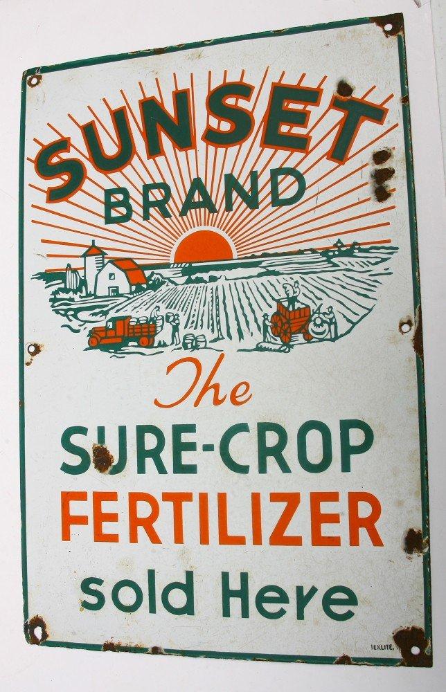 """934: Vintage porcelain sign 14"""" x 21"""" advertising SUNSE"""