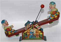 1930's Windup Clowns Playing on Teeter-Totter with Ball