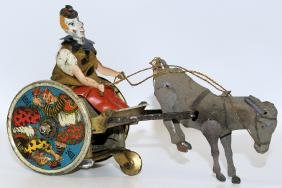 LEHMANN Tin Windup EPL 425 BALKY MULE Clown on Cart