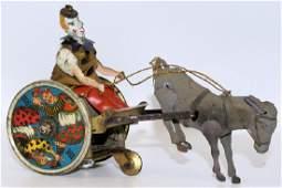 LEHMANN Tin Windup EPL 425 BALKY MULE Clown on Cart