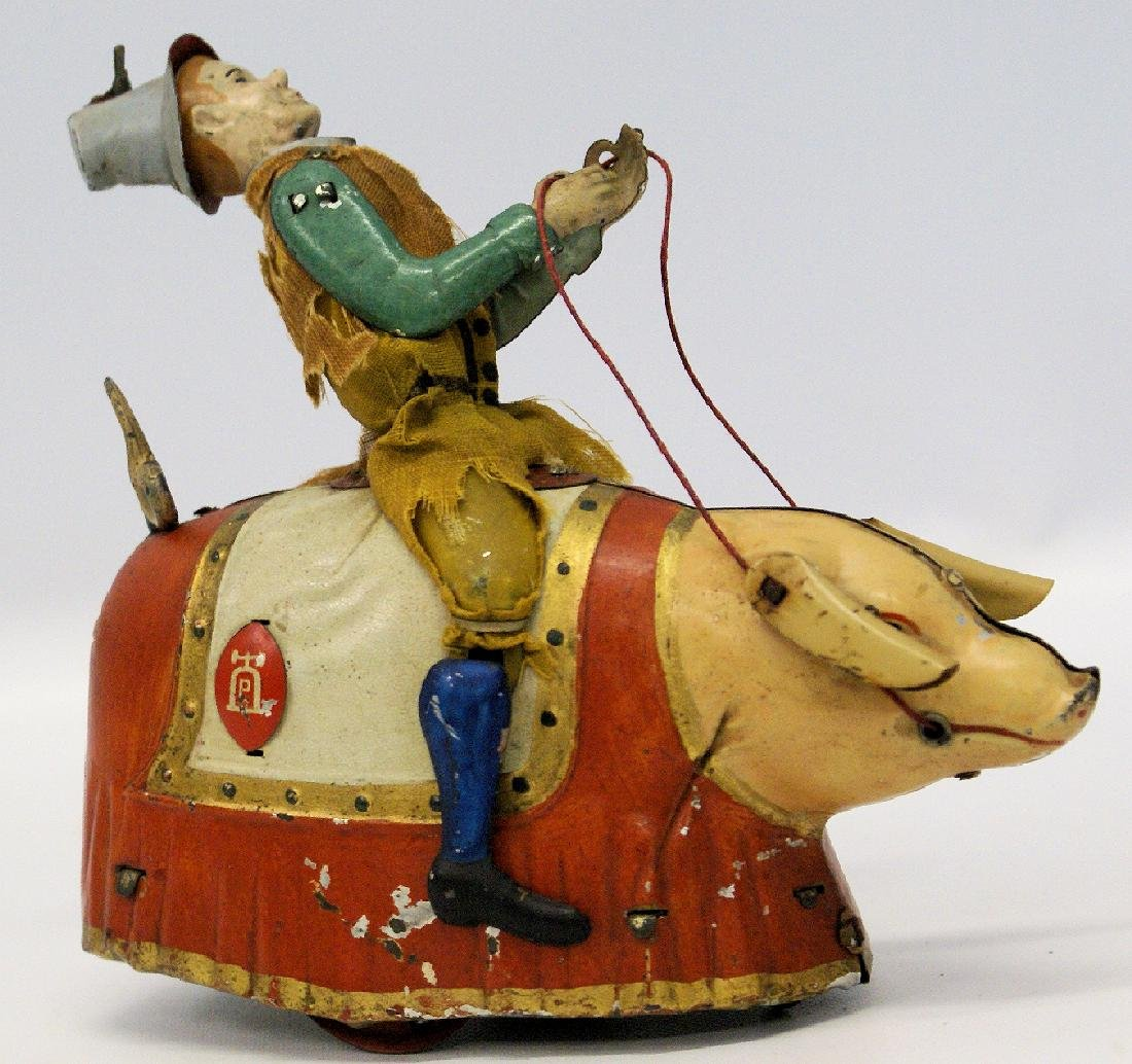 1903 LEHMANN (Germany) Tin Windup PADDY & THE PIG Toy