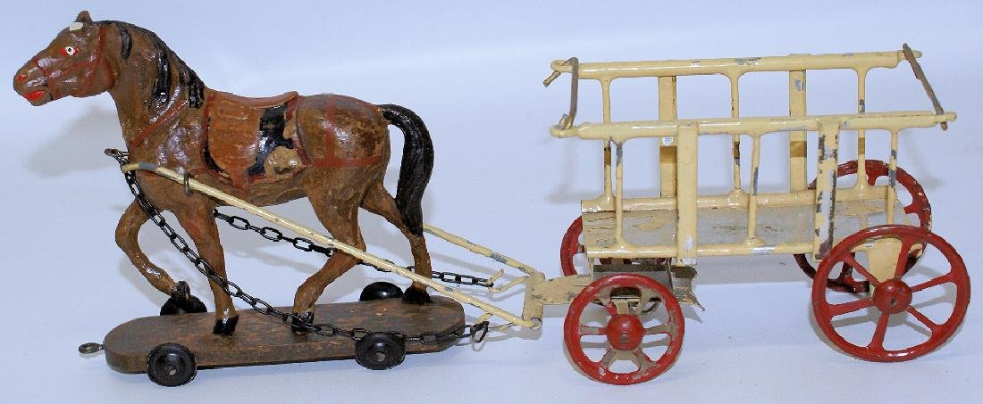 (Late Teens) German Wood Composition Horse Drawn Tin