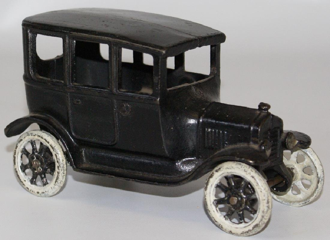 ARCADE Cast Iron Black Sedan Car - All Original