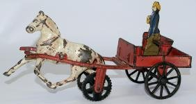 1884 CARPENTER Cast Iron Horse Drawn Wagon with