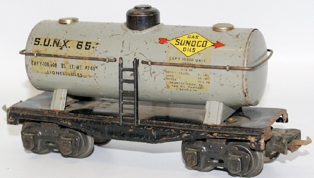 Prewar LIONEL O Gauge Tin SUNX 65 SUNOCO Oil Gas Tank