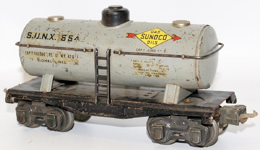 Prewar LIONEL O Gauge Tin SUNX 65 SUNOCO Oil Gas Tank - 2