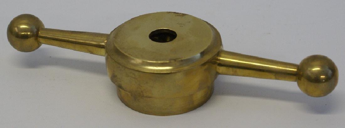 "8"" Brass Dog Bone Radiator Cap with 2"" Threaded Hole"