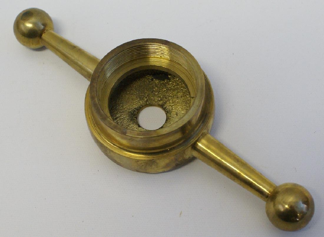 "8"" Brass Dog Bone Radiator Cap with 2"" Threaded Hole - 2"
