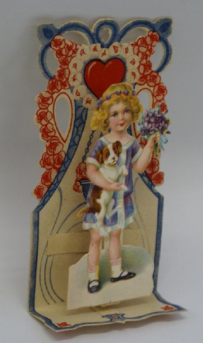 Victorian Embossed Diecut Folding 3D 'Girl Carrying