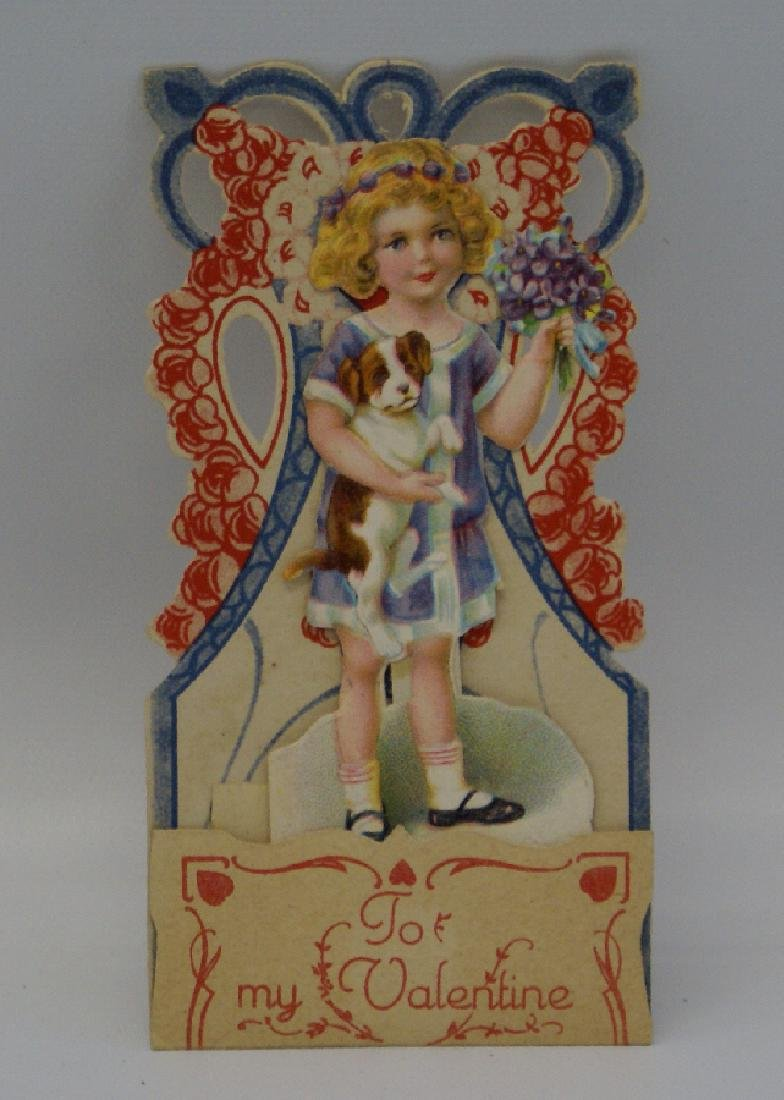 Victorian Embossed Diecut Folding 3D 'Girl Carrying - 2