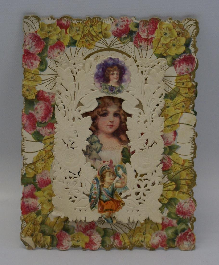 Victorian Heavily Embossed Diecut Folding Fold-Out 3D