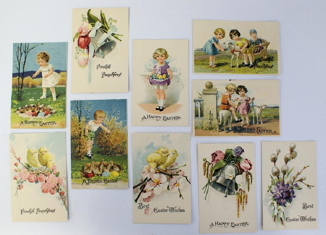 Lot of 10 Various Easter Greeting Postcards, made in