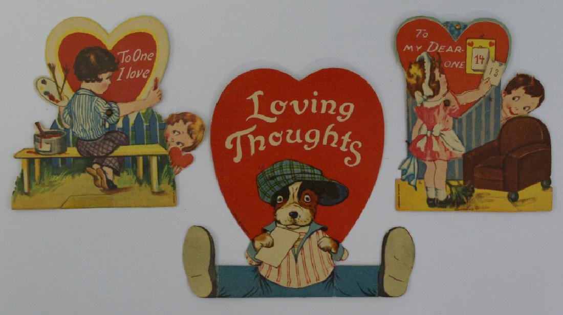 Lot of 3 Diecut Mechanical Valentines Day Cards, Made