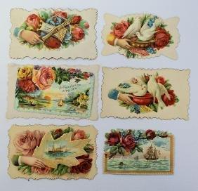 Lot of 6 Victorian Embossed Diecut Paper Scraps Calling