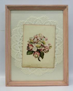 Victorian Era Framed Handmade 3D Decorated Floral Card