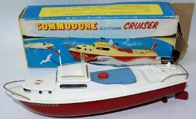 COMMODORE CLOCKWORK CRUISER Tinplate Boat by Sutcliffe