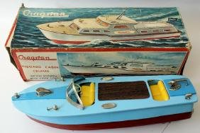 B.O. Tinplate Lithographed CRAGSTAN Boat w/ Working