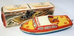 Tin Friction SEA QUEEN PN 140 Toy Boat by PN, Western