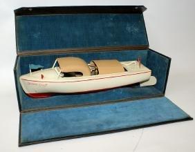 Salesman Sample Clockwork Celluloid Toy Boat in