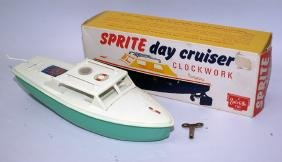 Tin Windup SPRITE DAY CRUISER Boat in Original Box, by