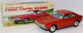 60's Tin Friction Red Ford Capri Sedan by Aoshin, Japan