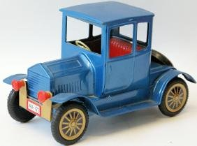Tin Friction Ford Model T Coupe Toy Car, dark blue,