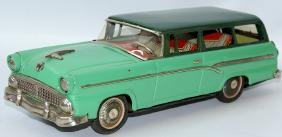 Tin Friction Green Ford Custom Ranch Station Wagon,