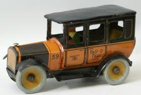 Tin Windup Yell-O-Taxi Cab Car with Driver, by