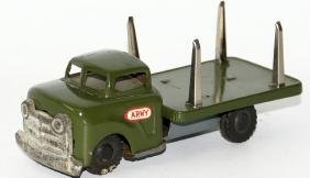 50's Tin Friction Green Military Army Truck, made in