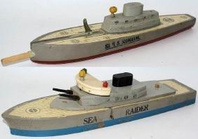 1940's KEYSTONE Wooden S-3 & SEA RAIDER U.S. Submarine