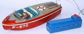50's Tin B.O. Remote Controlled ZOOM BOAT F-570, by K