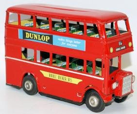 Tin Friction DOUBLE DECKER BUS, Dunlop & Mineral Water