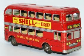 Tin DOUBLE DECKER BUS, Mobile & Shell Oil Gas