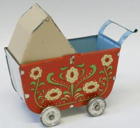 1930's German Tin Toy Miniature Doll Baby Buggy